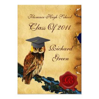 GRADUATION OWL PARCHMENT RED WAX SEAL MONOGRAM CARD