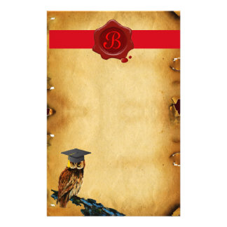 GRADUATION OWL PARCHMENT RED WAX SEAL MONOGRAM STATIONERY