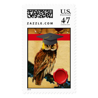 GRADUATION OWL PARCHMENT RED WITH WAX SEAL POSTAGE