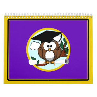 Graduation Owl w/ Cap & Diploma - Purple and Gold Calendar
