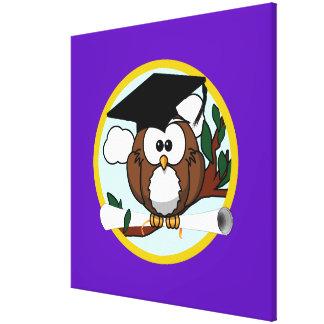 Graduation Owl w/ Cap & Diploma - Purple and Gold Canvas Print
