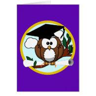 Graduation Owl w/ Cap & Diploma - Purple and Gold Greeting Card