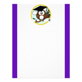 Graduation Owl w/ Cap & Diploma - Purple and Gold Letterhead