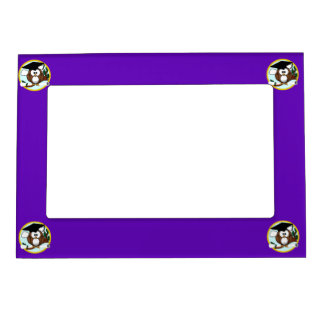 Graduation Owl w/ Cap & Diploma - Purple and Gold Magnetic Photo Frame