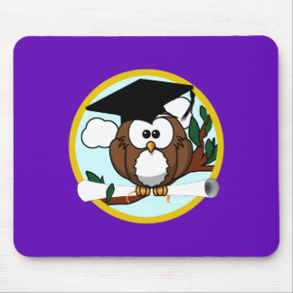 Graduation Owl w/ Cap & Diploma - Purple and Gold Mouse Pad