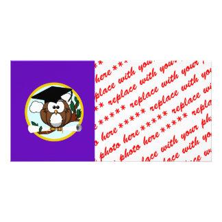 Graduation Owl w/ Cap & Diploma - Purple and Gold Photo Card
