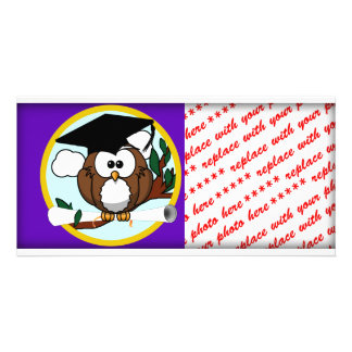 Graduation Owl w/ Cap & Diploma - Purple and Gold Customized Photo Card