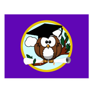 Graduation Owl w/ Cap & Diploma - Purple and Gold Postcard
