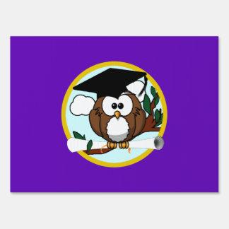 Graduation Owl w/ Cap & Diploma - Purple and Gold Sign