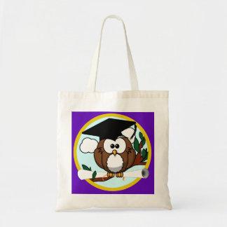 Graduation Owl w/ Cap & Diploma - Purple and Gold Tote Bag