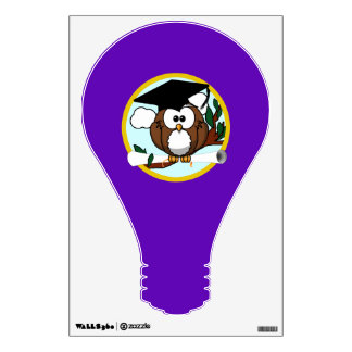 Graduation Owl w/ Cap & Diploma - Purple and Gold Room Stickers