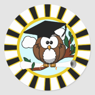 Graduation Owl w/ School Colors Black and Gold Classic Round Sticker