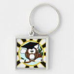 Graduation Owl w/ School Colors Black and Gold Keychain