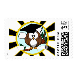 Graduation Owl w/ School Colors Black and Gold Stamp