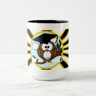 Graduation Owl w/ School Colors Black and Gold Two-Tone Coffee Mug