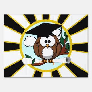 Graduation Owl w/ School Colors Black and Gold Yard Sign