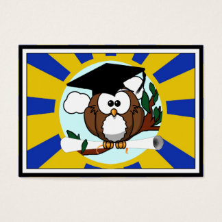 Graduation Owl With Blue And Gold School Colors Business Card
