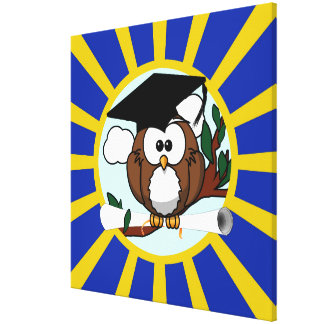 Graduation Owl With Blue And Gold School Colors Canvas Print