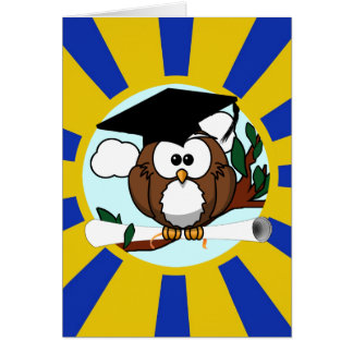 Graduation Owl With Blue And Gold School Colors Greeting Card
