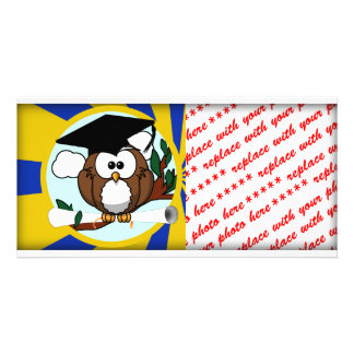 Graduation Owl With Blue And Gold School Colors Picture Card