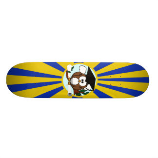 Graduation Owl With Blue And Gold School Colors Skateboard