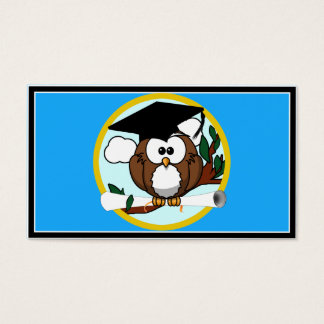 Graduation Owl With Cap & Diploma - Blue and Gold Business Card