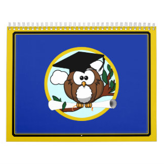 Graduation Owl With Cap & Diploma - Blue and Gold Calendar