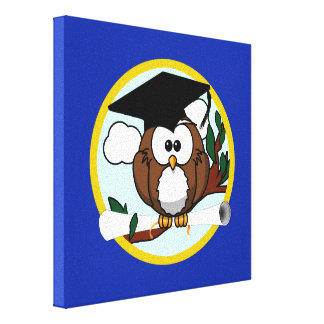 Graduation Owl With Cap & Diploma - Blue and Gold Canvas Print