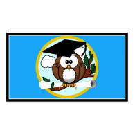Graduation Owl With Cap & Diploma - Blue and Gold Double-Sided Standard Business Cards (Pack Of 100)