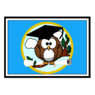 Graduation Owl With Cap & Diploma - Blue and Gold Large Business Cards (Pack Of 100)