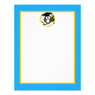 Graduation Owl With Cap & Diploma - Blue and Gold Letterhead