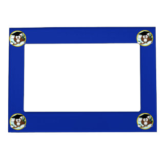 Graduation Owl With Cap & Diploma - Blue and Gold Magnetic Photo Frame