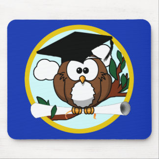 Graduation Owl With Cap & Diploma - Blue and Gold Mouse Pad