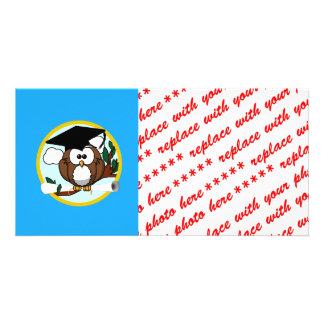 Graduation Owl With Cap & Diploma - Blue and Gold Photo Card
