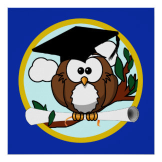 Graduation Owl With Cap & Diploma - Blue and Gold Poster