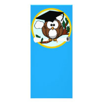 Graduation Owl With Cap & Diploma - Blue and Gold Rack Card