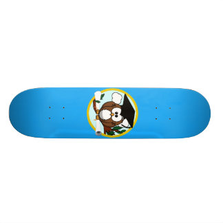 Graduation Owl With Cap & Diploma - Blue and Gold Skateboard Deck