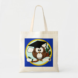 Graduation Owl With Cap & Diploma - Blue and Gold Tote Bag