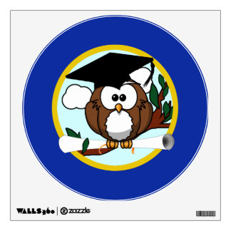 Graduation Owl With Cap & Diploma - Blue and Gold Wall Skins