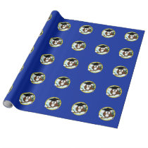 Graduation Owl With Cap & Diploma - Blue and Gold Wrapping Paper