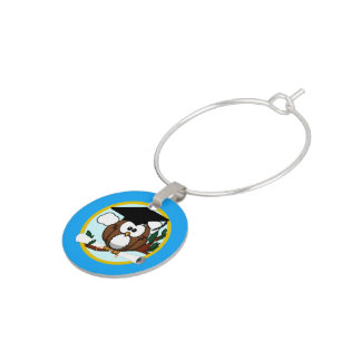 Graduation Owl With Cap & Diploma - Blue and Gold Wine Charms