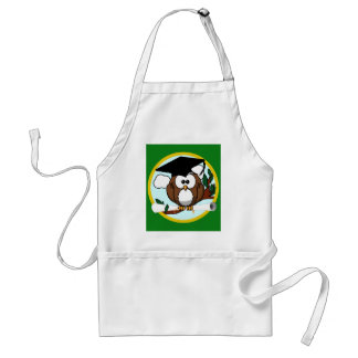 Graduation Owl With Cap & Diploma - Green and Gold Adult Apron
