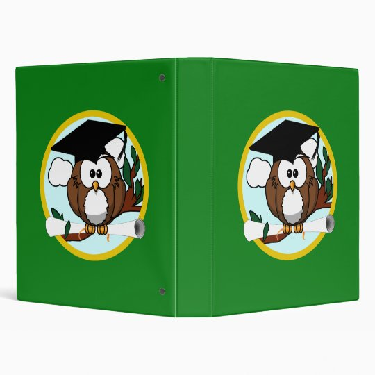 Graduation Owl With Cap & Diploma - Green and Gold Binder