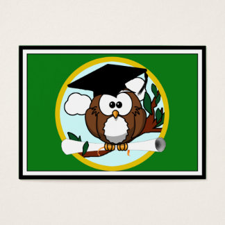 Graduation Owl With Cap & Diploma - Green and Gold Business Card