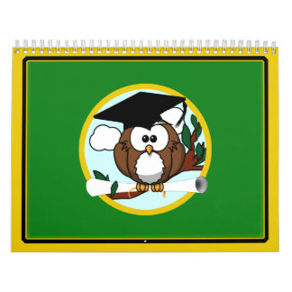 Graduation Owl With Cap & Diploma - Green and Gold Calendar