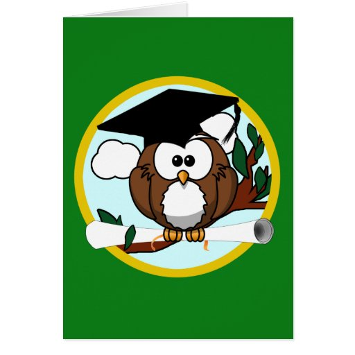 Graduation Owl With Cap & Diploma - Green and Gold Greeting Card