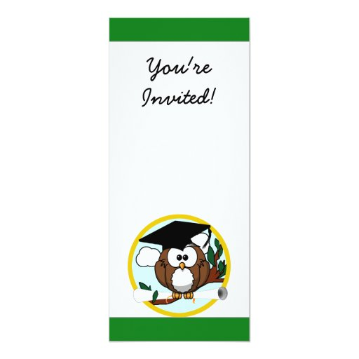 Graduation Owl With Cap & Diploma - Green and Gold Card