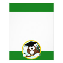 Graduation Owl With Cap & Diploma - Green and Gold Flyer