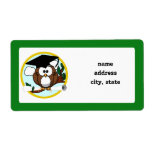 Graduation Owl With Cap & Diploma - Green and Gold Shipping Label