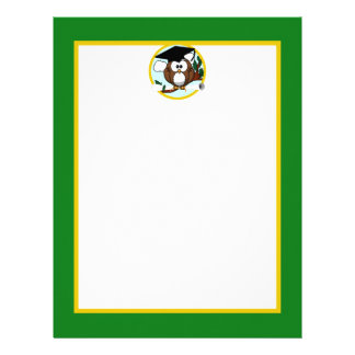 Graduation Owl With Cap & Diploma - Green and Gold Letterhead